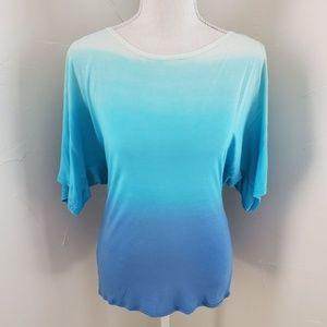 Bebe Blue Dip Dye Top sz M